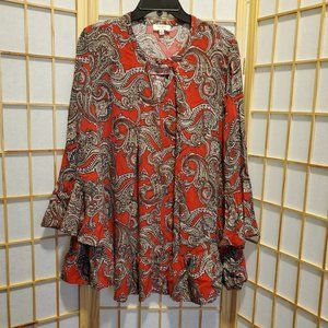 Umgee Paisley Keyhole Front Bell Sleeves Top Sz S